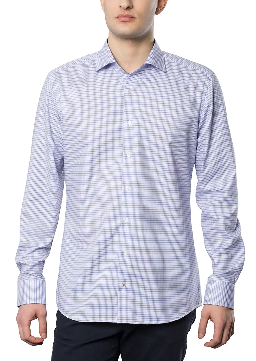 ETERNA Men's SLIM FIT long sleeve shirt rose-lightblue plaid
