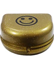 Smiley Retainer Case - Glitter Colours for Ortho Retainers, Dentures & More (Gold)