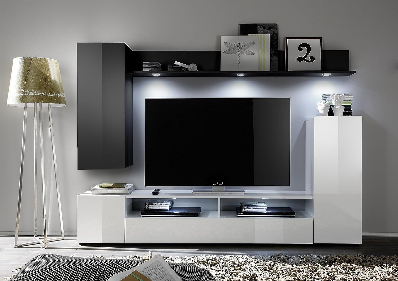 trendteam DS94502 Wohnwand Anbauwand Wohnzimmerschrank schwarz, weiß ...