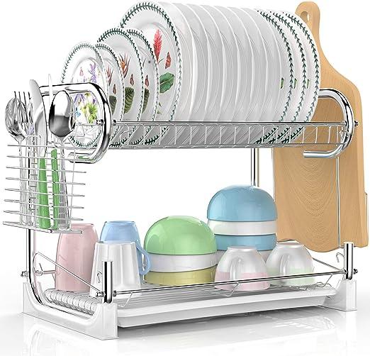 Amazon Com Dish Drying Rack Veckle 2 Tier Dish Drainer Easy