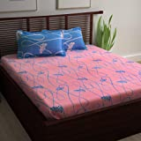 Story@Home 120 TC 100% Cotton Candy Collection 1 Double Bedsheet and 2 Pillow Cover - Blue