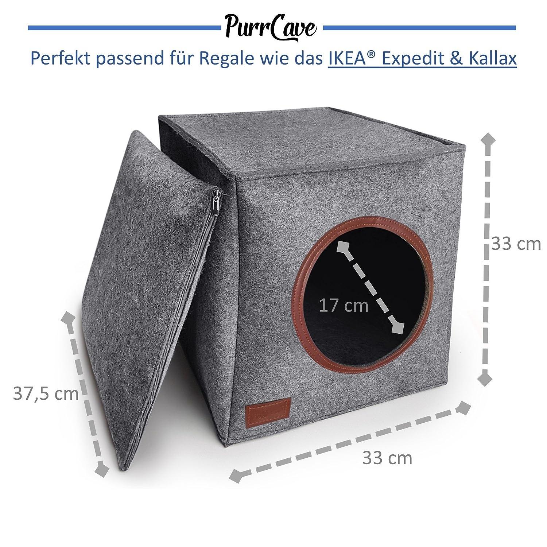 Gato Cueva de purrcave Incluye Cojín | Manta cueva en gris oscuro | apta para, por ejemplo IKEA® Expedit & Kallax estanterías, diseño elegante, ...
