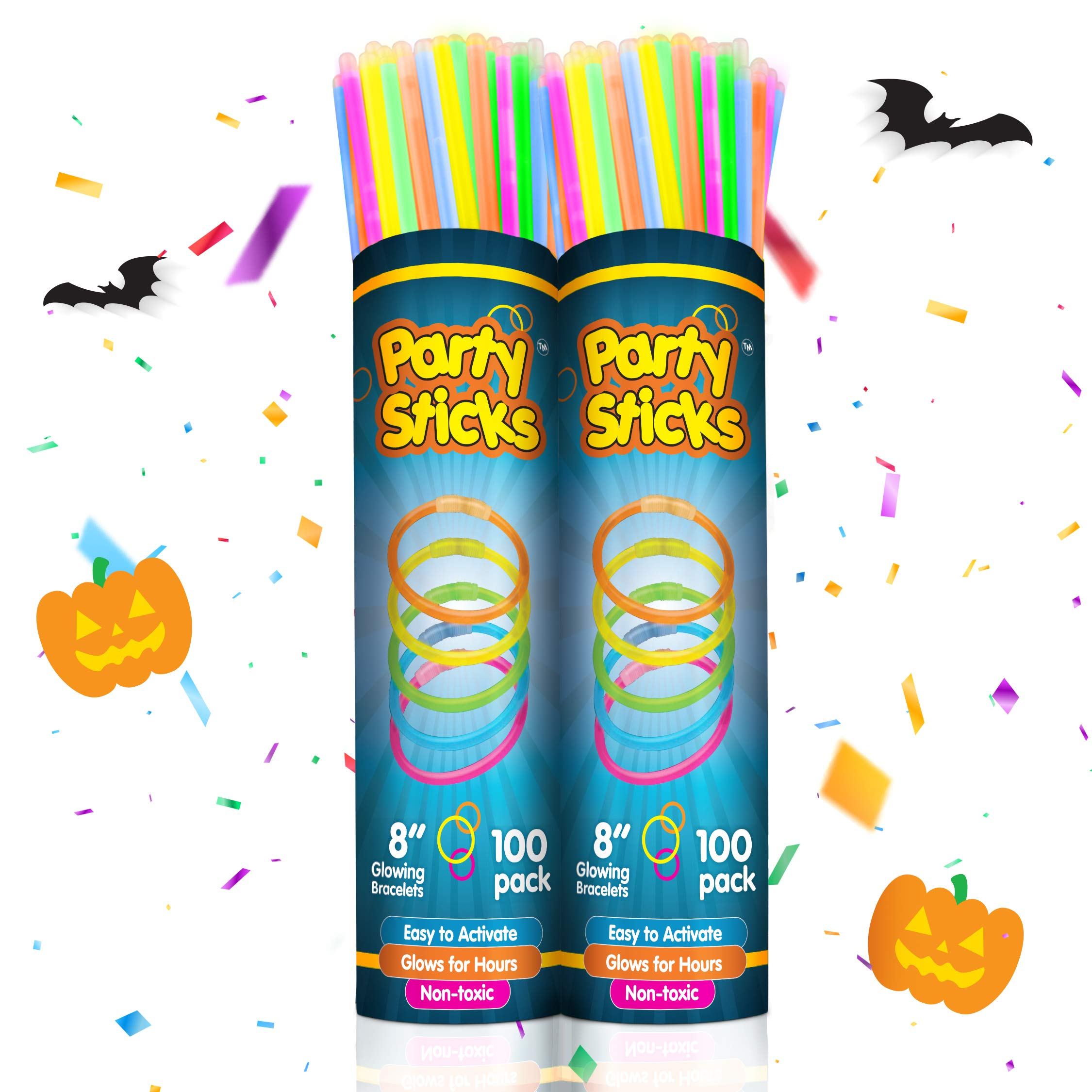 Glow Sticks Bulk Party Favors 200pk Light Sticks for Neon Party Glow Necklaces and Bracelets for Kids or Adults 8 Glow in The Dark Party Supplies