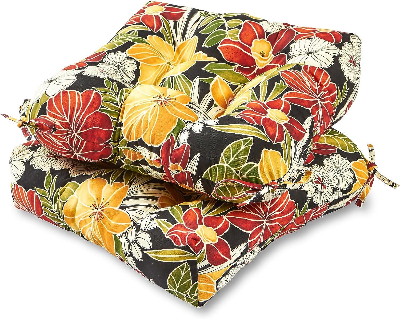 Greendale Home Fashions AZ6800S2-ALOHA-BLACK Aloha Outdoor Dining Seat Cushion (Set of 2)
