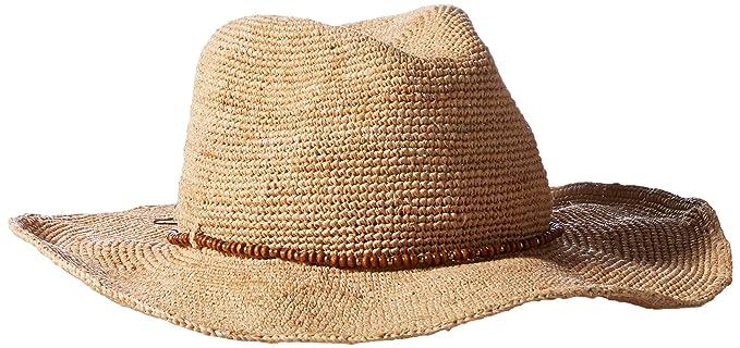 6a2635e57 Hat Attack Women's Raffia Crochet Cowboy Hat with Wood Bead Trim ...