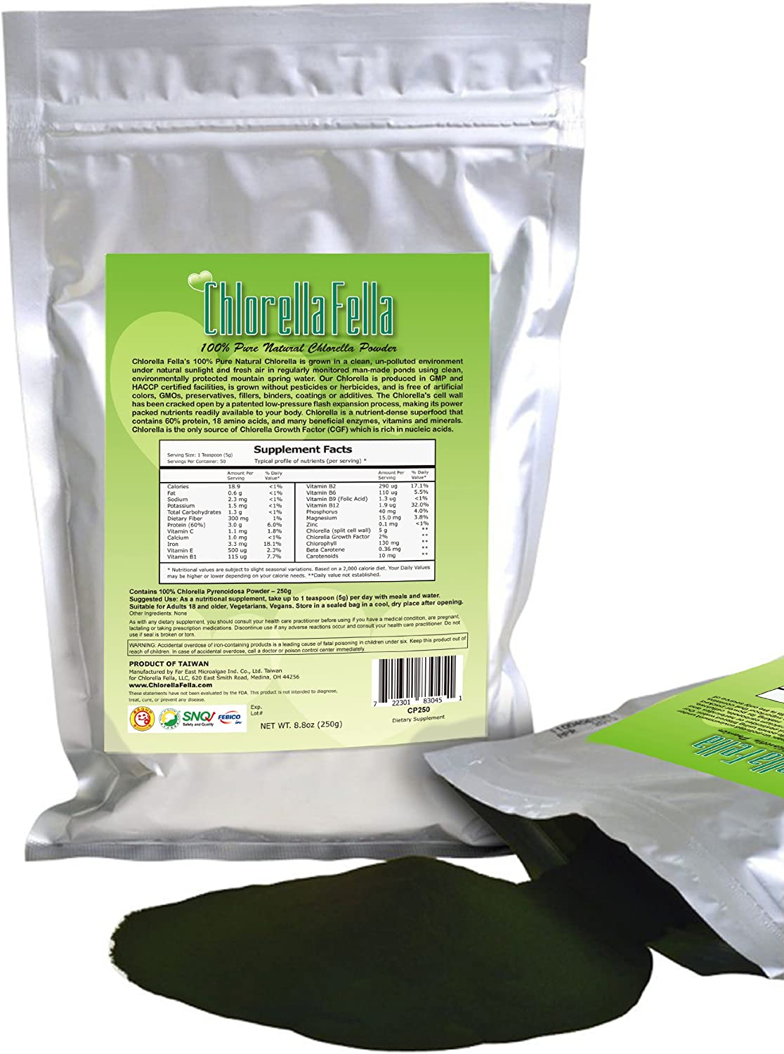 Chlorella Powder 100 Pure Natural Taiwan Premier Quality Chlorella Powder Each Pack contains 250g 8.8oz