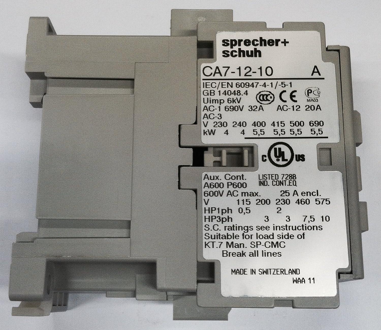 Sprecher /& Schuh CA7-12-10-120 Contactor 12Amp 3Pole 110//120V