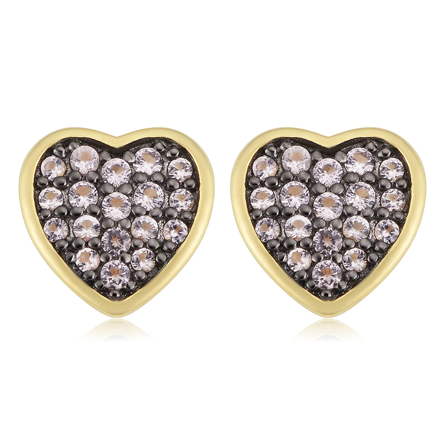 Kooljewelry Yellow Gold Over Sterling Silver with Rose Colored Nano Glass Heart Stud Earrings