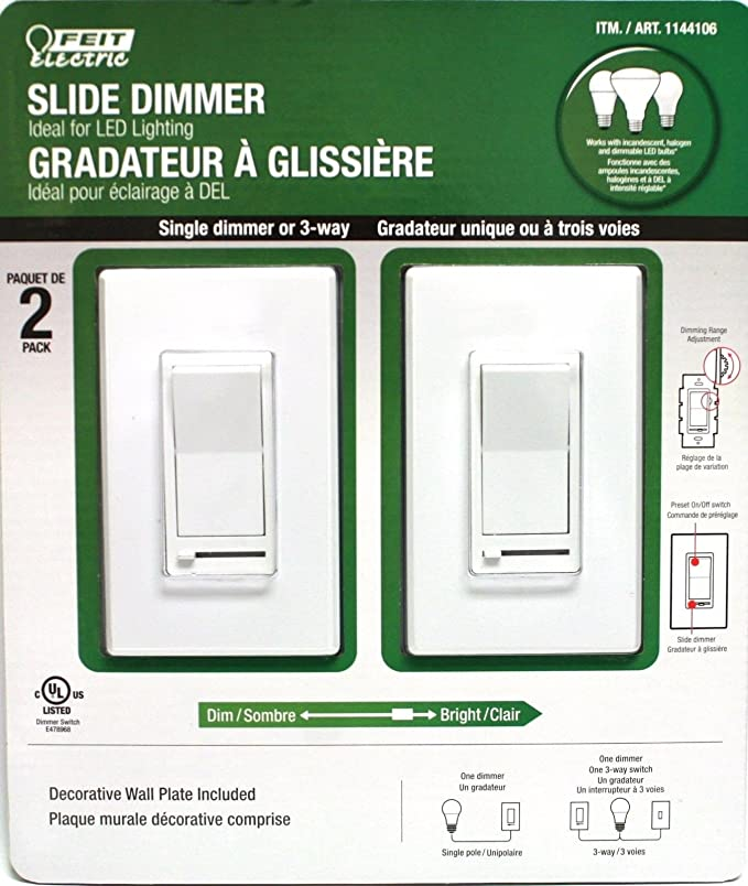 Feit Electric Slide Dimmer Ideal For LED Lighting with dimming range on