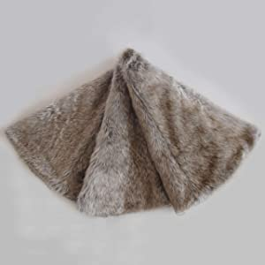 Gireshome Deluxe Grey Brown Multi Colors,Grey Stripe and Beige Grey Mixted Color Faux Fur Christmas Tree Skirt (38inch)