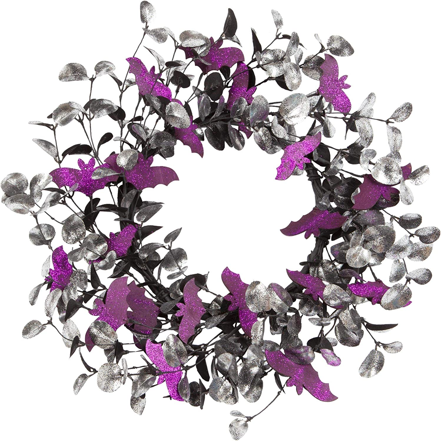 Skrantun 18 Inch Halloween Wreath Door Wreath with Bat Decorations Halloween Decorations with Glitter Decorations for Halloween Party