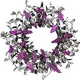 Skrantun 18 Inch Halloween Wreath Door Wreath with Bat Decorations Halloween Decorations with Glitter Decorations for…