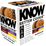 KNOW Foods Protein Cookies, Gluten Free, Low Carb, 4g Net Carbs - Variety Pack (4 Cookies, 1 Choco Chip, 1 Double Choco Chip, 1 Cinnamon, 1 Lemon)