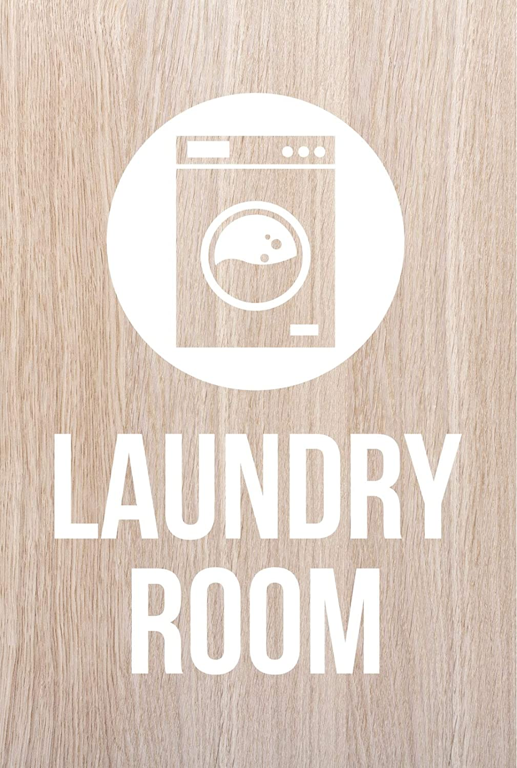 iCandy Products Inc Laundry Room Hotel Business Office Building Sign 12x18 Inches, White Oak, Plastic