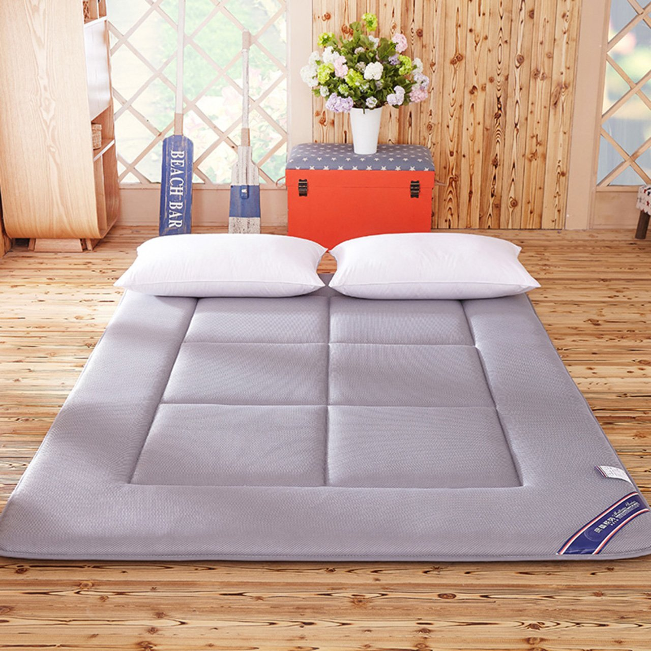 Yellow star Quilted foldable cushion mats,Tatami mattress student dorm futon mattress topper portable sleeping pad thin bed protection pad washable-C 90x200cm(35x79inch)