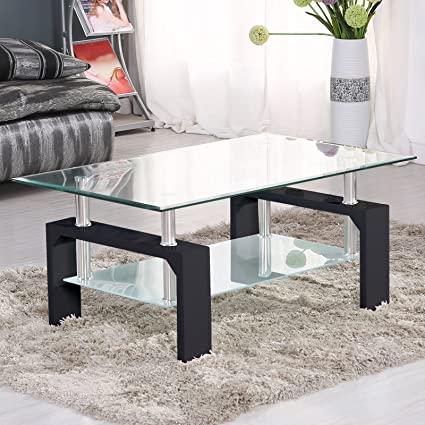SUNCOO Coffee Table Glass Top with Shelves Home Furniture Clear Rectangle  (Black)