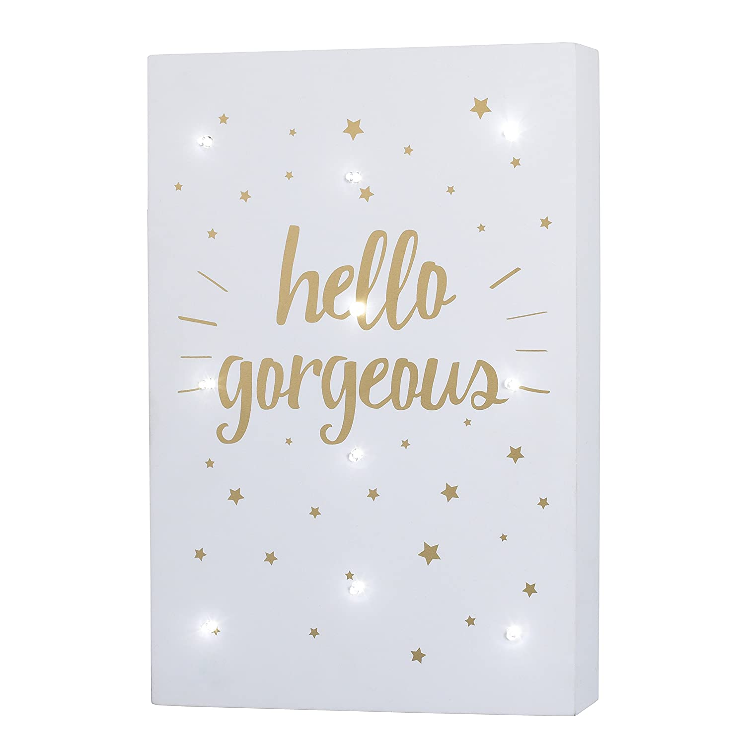 Little Love by NoJo Celestial Lighted Wall Decor, Hello Gorgeous, Gold/White