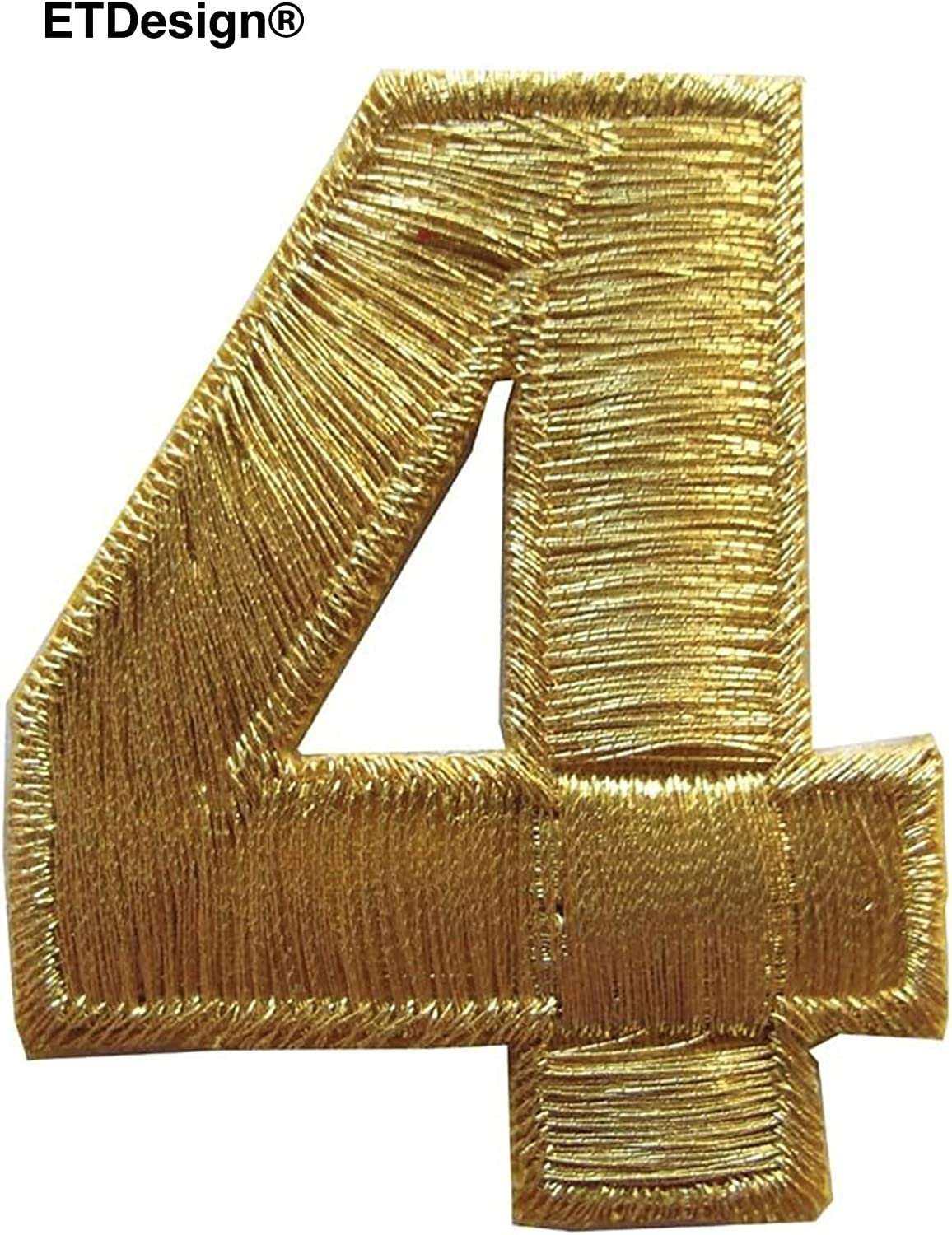 """NUMBERS-2/""""H Gold Number /""""9/"""" Iron On Embroidery Appliqué Patch"""