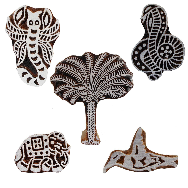 Bunch of 5 Scorpion Date Tree Snake Bird Elephant Motif Wooden Printing Blocks Indian Handmade Fabric Stamps