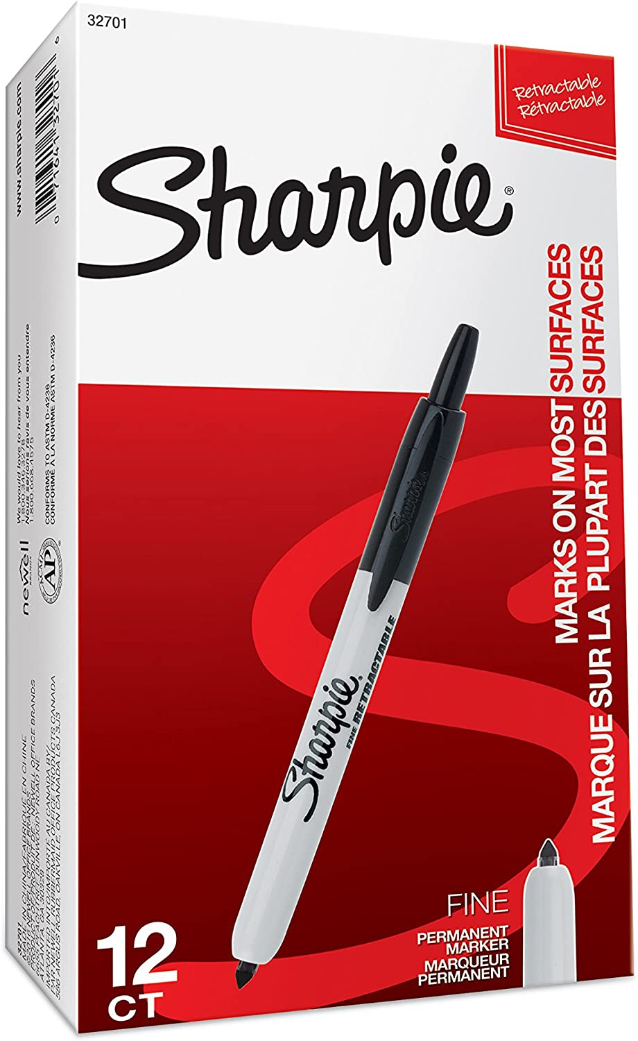 Fine Point Black 12 Count 2 Pack Sharpi 32701 Retractable Permanent Markers