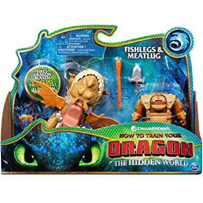 Dreamworks Dragons, Fishlegs and Meatlug, Dragon with Armored Viking Figure, for Kids Aged 4 and Up: Toys & Games