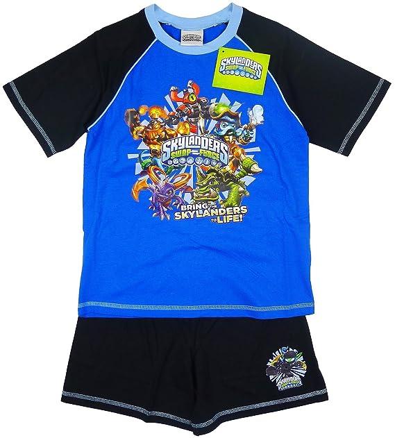 f323a575f Boys Kids Skylanders Swap Force Cotton Short Pyjama Sleepwear Nightwear  (Blue Black) 5-6  Amazon.co.uk  Clothing