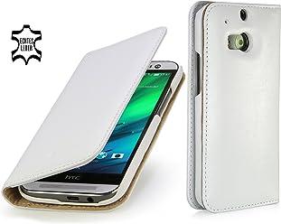 StilGut Housse en cuir Talis pour HTC One M8 & HTC One M8s avec compartiments pour cartes, en blanc nappa