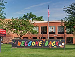 Welcome Back Banner, Back to School Banner, First Day of School Banner, Back to School Decorations Party Supplies(9.8 x 1.6 feet)
