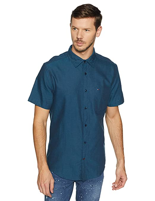 TOMMY HILFIGER Men's Printed Loose Fit Casual Shirt Men's Casual Shirts at amazon