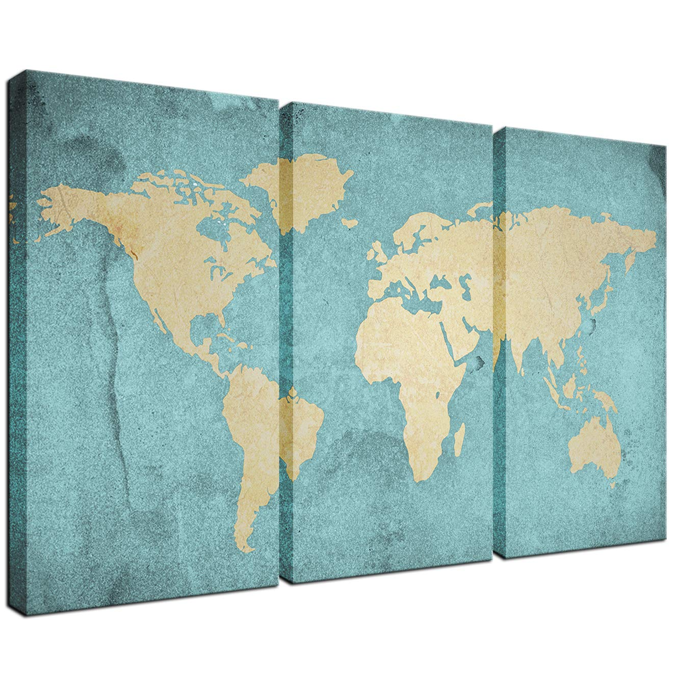 Details about Large Size World Map Canvas Prints Vintage Style, Antique  Blue Map of the World