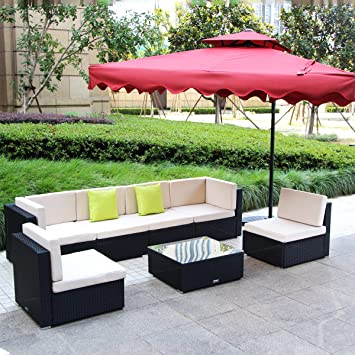 Amazon Com U Max Piece Pieces Patio Pe Rattan Wicker Sofa