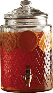 Circleware Mason Jar Beverage Dispenser and Glass Lid New Fun Party Entertainment Home & Kitchen Glassware Pitcher for Water, Juice, Beer, Punch, Iced Tea, Cold Drinks, 1.6 Gallon