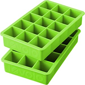 "Tovolo Perfect Cube Ice Mold Trays, Sturdy Silicone, Fade Resistant, 1.25"" Cubes, Set of 2, Spring Green"
