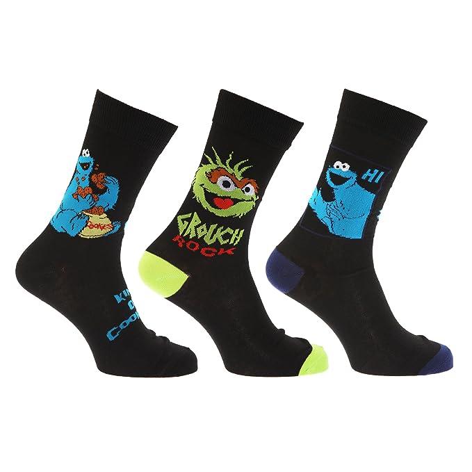 Sesame Street - Calcetines Novedosos de barrio sesamo hombre caballero (Pack de 3)