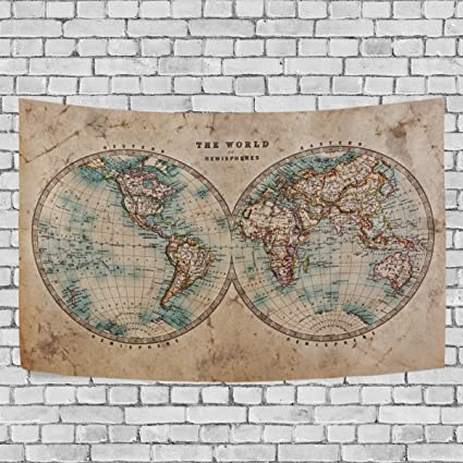 Nautical Chart Retro World Vintage Map Hemispheres Tapestry Wall Hanging  For Bedroom Living Room Dorm Wall