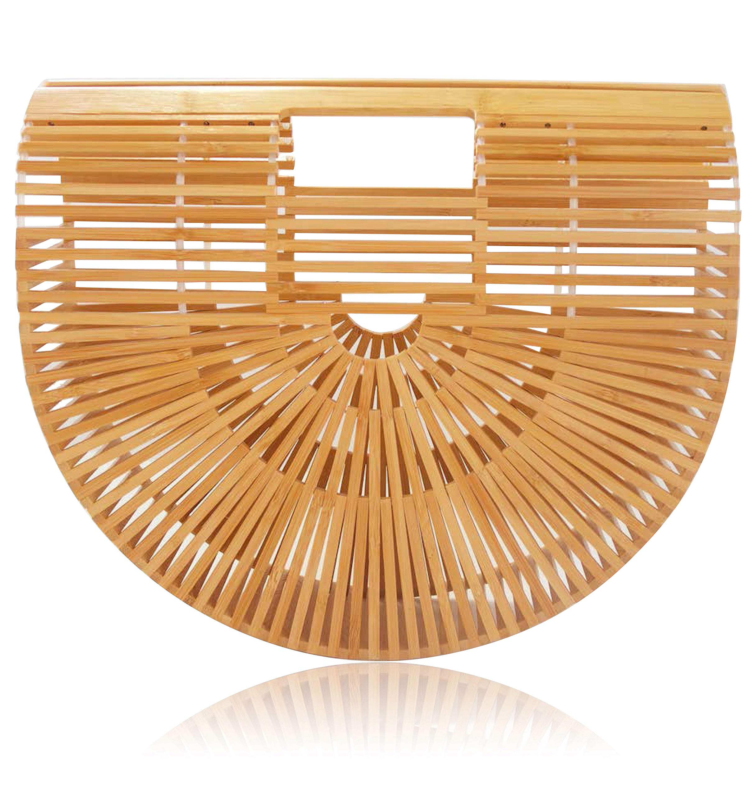New 2018 Bamboo Handbag and Purse Handmade Beach Tote for Women by la Bambu (Small 11.25 x 3 x 9.5, Natural)