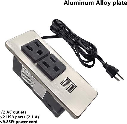 Power Grommet 2 Sockets// 2 USB Ports