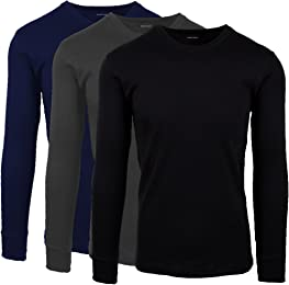 Andrew Scott Men's 3 Pack Premium Cotton Thermal Top Base Layer Long Sleeve Crew Neck Shirt