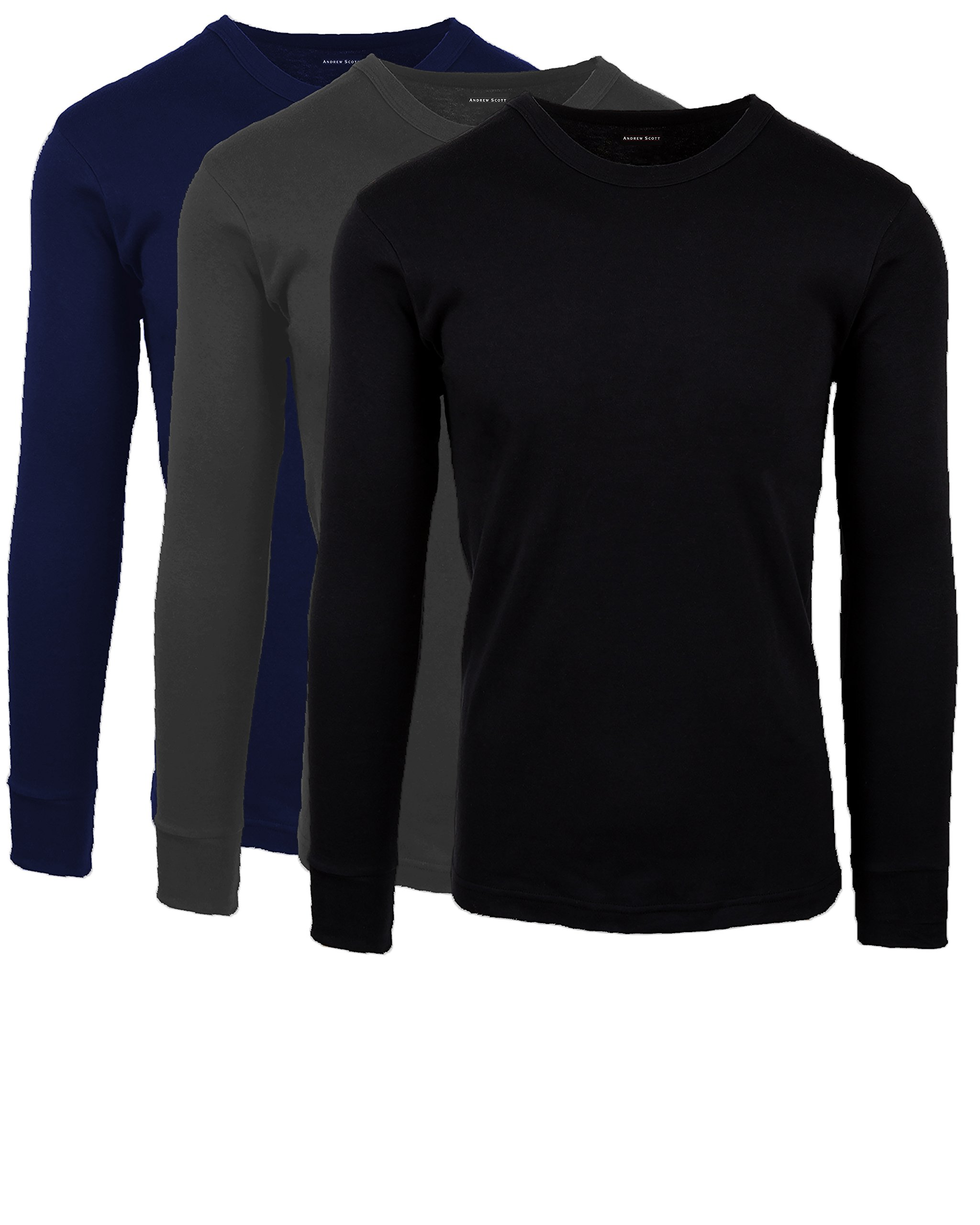 Andrew Scott Men's 3 Pack Premium Cotton Thermal Top Base Layer Long Sleeve Crew Neck Shirt (Large, 3 Pack- Black/Heather Grey/Midnight Navy) by Andrew Scott