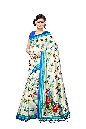 46ce3a870 Indira Designer Cotton Saree with Blouse Piece (SRIB406-Blue Blue Free Size)