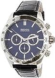 Hugo Boss 1513176 - Montre homme Chronographe - bracelet en cuir noir