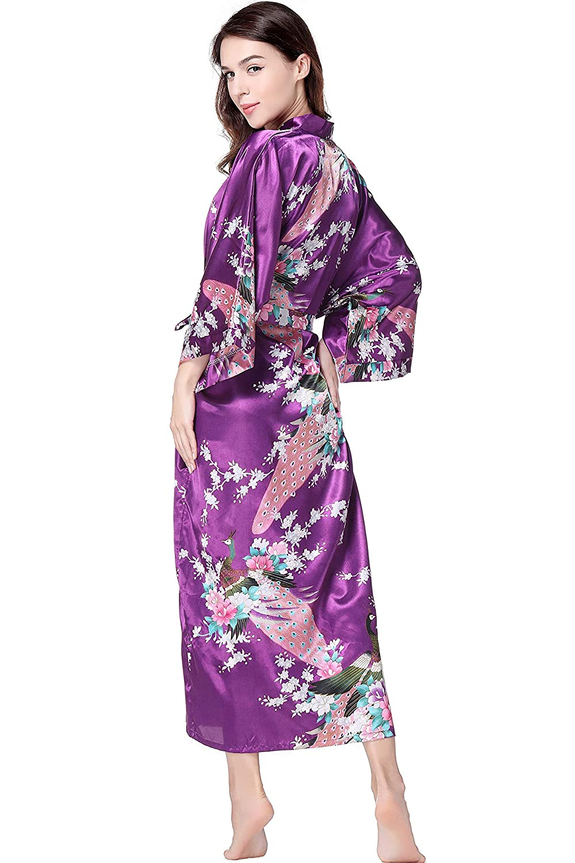 BABEYOND Vestaglia da Donna Maxi Lungo in Seta Satinata Kimono Abito Pavone Modello Kimono Accappatoio da Donna Lungo Accappatoio da Notte Ragazza Pajama Party 135 cm di Lunghezza