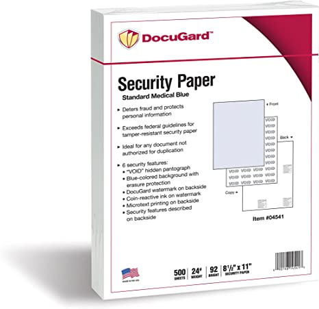Amazon.com: DocuGard Papel de seguridad médica estándar para ...