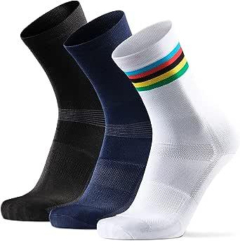 Calcetines de Ciclismo Altos para Hombres y Mujeres, Calcetines Deportivos de Bicicleta, Acolchados, Transpirables, para Montaña, Spinning, Ciclismo de ruta, Negro, Azul, Blanco. Paquete de 3