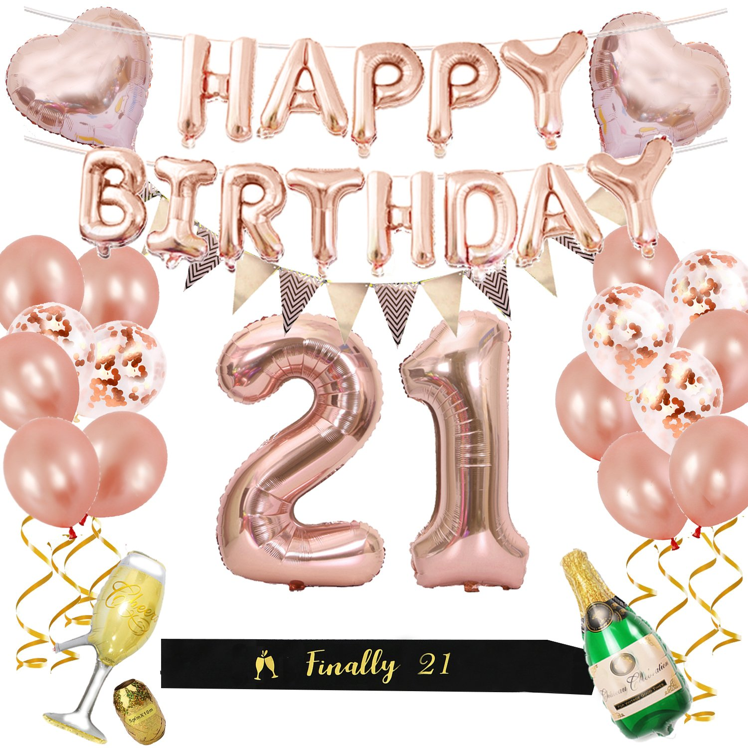 21st Birthday Decorations Kit, Rose Gold Happy Birthday Balloon Banner and Big Number 21 Balloon, Black Birthday Sash, 21 Year old Party Supplies for Her (Rose Gold)