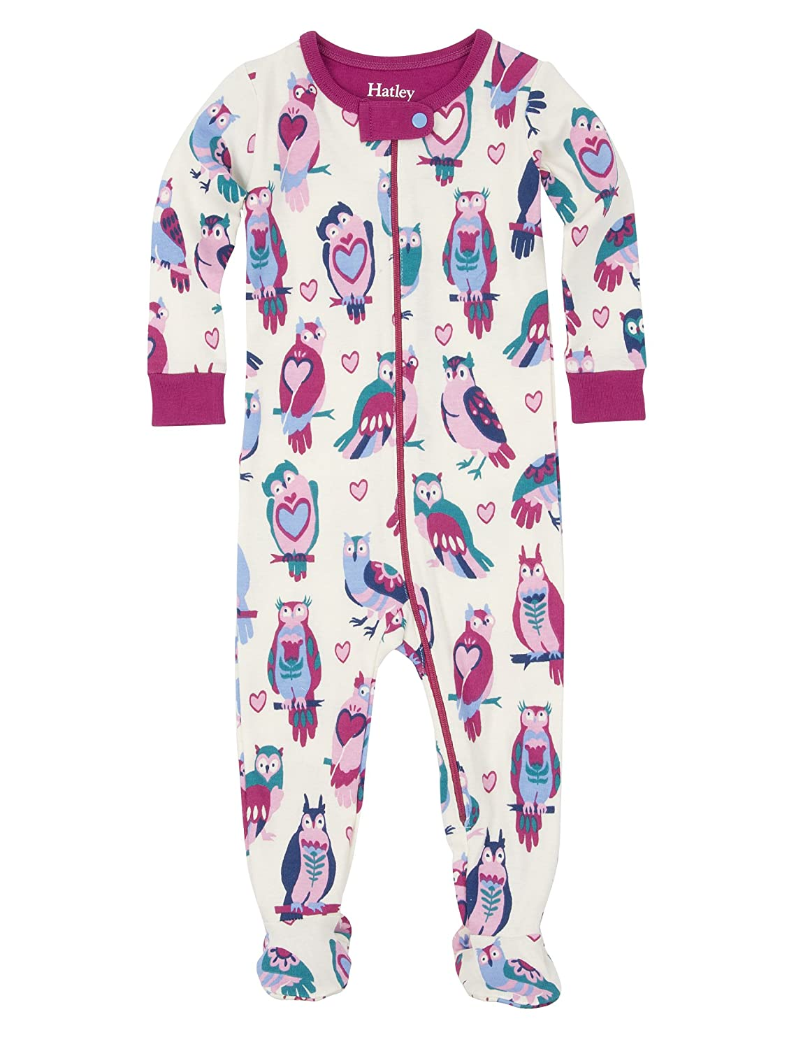 Hatley Girls' Owls Footed Coverall Happy Owls 12-18 Hatley Children's Apparel DR5OWLS126