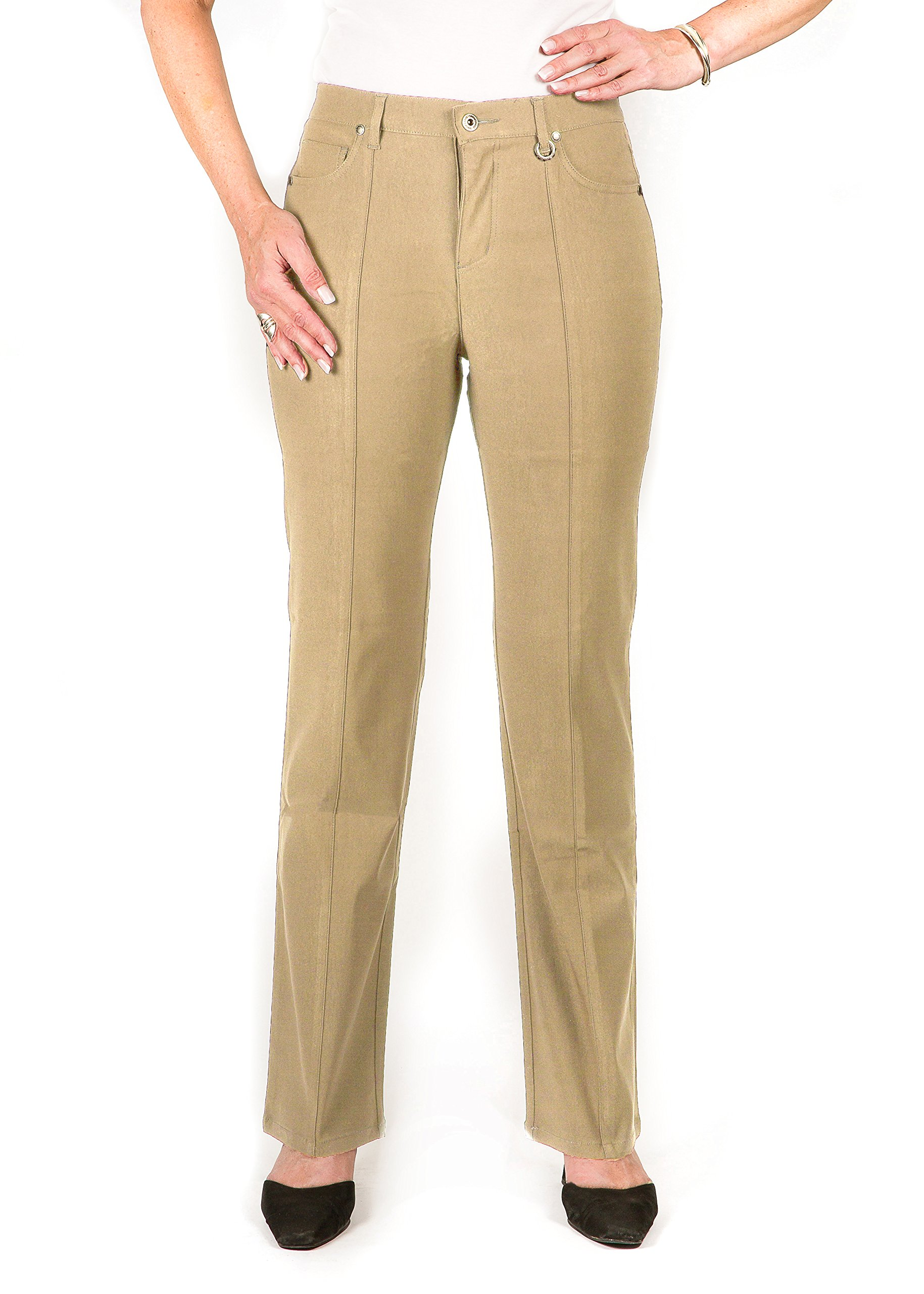 Plus Size Simon Chang 5 Pocket Straight Leg Microtwill Pant Style# 3-5302X (18 Plus, Stone) by Simon Chang