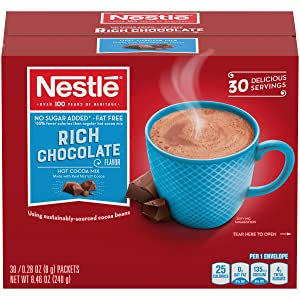 Nestle Hot Chocolate Packets, Hot Cocoa Mix, Sugar Free and Fat Free, 0.28 oz, Bulk Pack (30 Count)