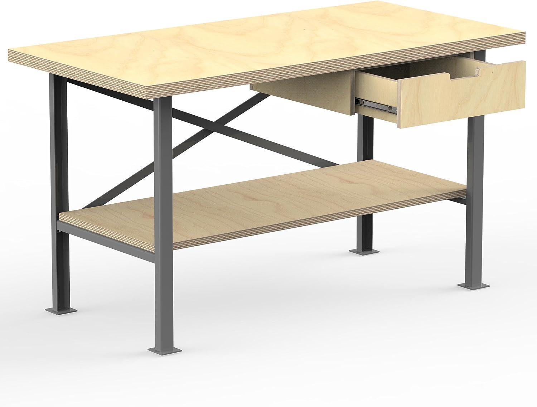 AUPROTEC /Établi 1600 x 750 x 850 mm Plan de Travail solide Panneau contreplaqu/é 40mm avec 1 tiroir et rack de Bois Bouleau multicouche Qualit/é Pro artisanale