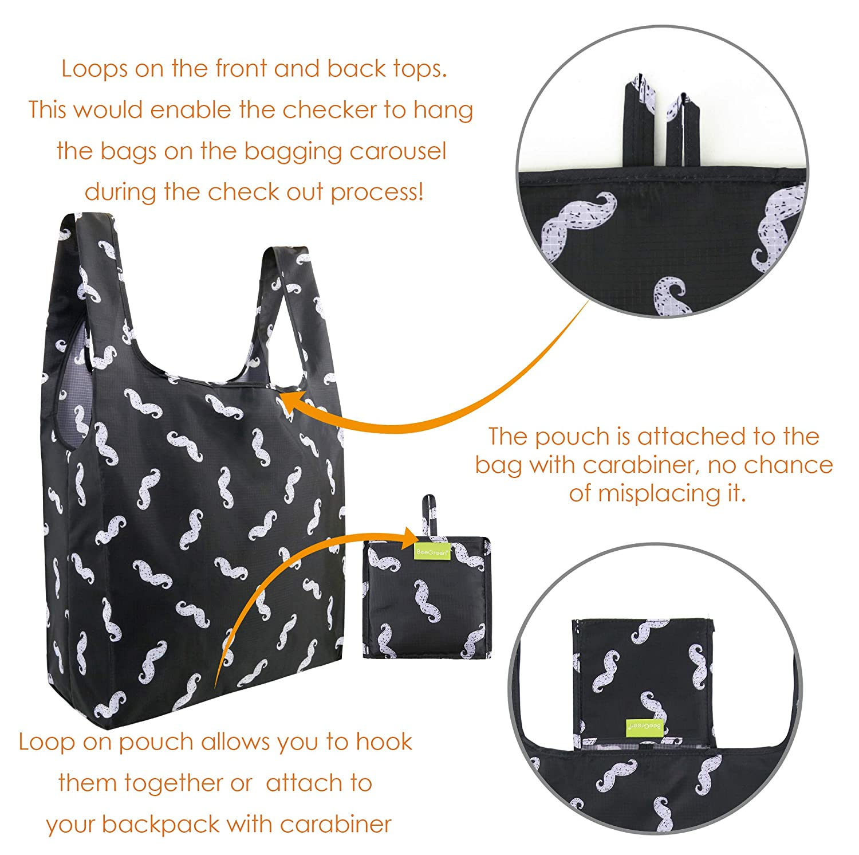 BeeGrün Faltbar Shopping Bags Bags Bags 5 Einkaufstaschen Polyester Reusable, 40cm×38cm×15cm Reißfeste Einkaufstüte Umweltfreundlich Shopper, Geschenk für Mann Frau Eltern, Lebensmittel Einkaufen Taschen B07K889P3Z Einkaufstaschen 1e1b91